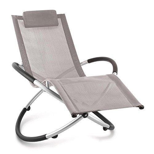 blumfeldt Chilly Billy ergonomische Gartenliege Liegestuhl Gartenstuhl Klappstuhl (Liege, 120 kg maximale Belastung, atmungsaktiv, witterungsbeständig, pflegeleicht, faltbar) grau