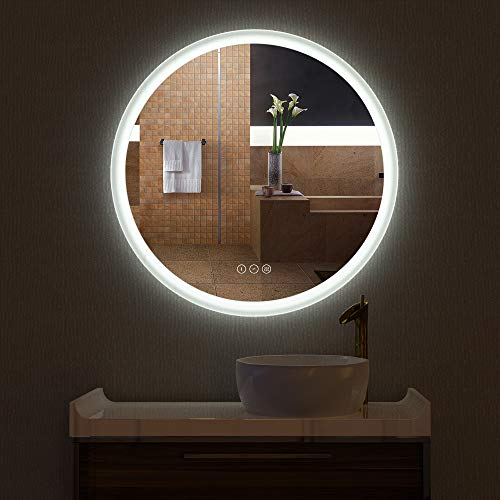 HAUSCHEN R30 inch LED Bathroom Wall Mounted Mirror with High Lumen+CRI 95...