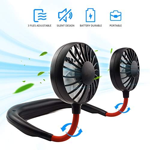 Hand-Free Personal Fan, Sports Neck Fan, Mini Portable USB Rechargeable Fan, 2000mAh, 360 Degrees Free Rotation Perfect for Traveling, park, Sports, Office Room, Headphone Design, Neckband Wearable