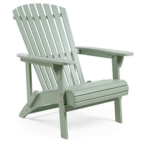 VonHaus Sage Green Wooden Adirondack Chair – for Garden and Outdoor
