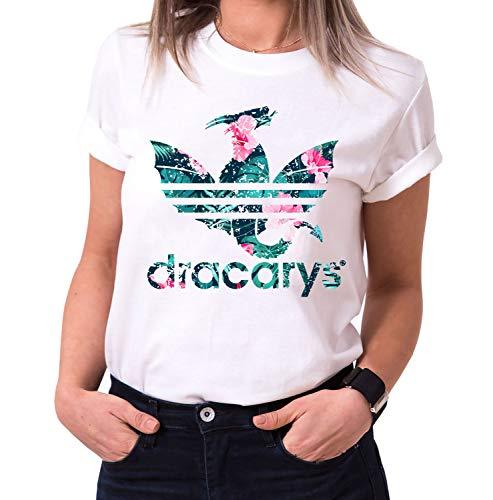 Dracarys Aurora - Camiseta para Mujer de Cuello Redondo Targaryen Thrones Game of Stark Lannister Baratheon Daenerys Khaleesi TV BLU-Ray DVD, Größe2:Small, Farbe2:Blanco
