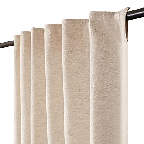 Linen Cotton Farmhouse Curtain 50x63 Inch Natural, Cotton Linen Curtains, 2 Panels Curtain,Tab Top Curtains, Room Darkening Drapes, Curtains for Bedroom, Curtains for Living Room,70% Linen,30%Cotton.