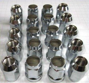 20 Chrom-Radmuttern-Set I Kegelbundaufnahme für 5 Lock Felgen I M12 x 1,5 x 34 I Chrom Radmuttern