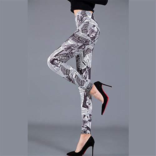 FGJHGH Damen Lederhose Frauen Druck Leggings Hüfte Elastische Hohe Taille Legging Fitness Leggings Atmungsaktive Hosen Elastizität Röhrenhose, Zeitung PD44, L