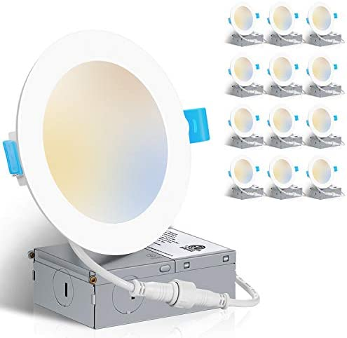 ZADDIC 3000K 4000K 5000K Adjustable 6 Inch Ultra Thin LED Recessed Ceiling Light Fixtures with product image
