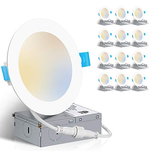 ZADDIC 3000K/4000K/5000K Adjustable 6 Inch Ultra Thin LED Recessed Ceiling Light Fixtures with Junction Box, 12W Eqv 110W, 1050LM Canless Dimmable Slim Downlight - ETL and Energy Star 12 Pack