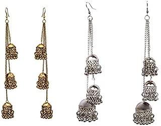 DecorTales Combo Set Pair of 2 Kashmiri Bollywood Style Bohemian Vintage Retro Drop Dangle Long Oxidized Indian Statement Ghungroo Tassel Jhumka Jhumki Earrings for Women