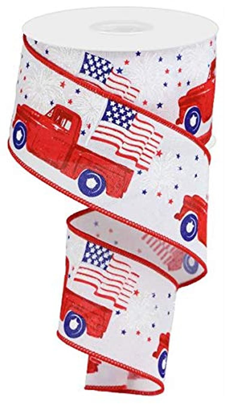 Patriotic Vintage Truck Wired Edge Ribbon - 2.5