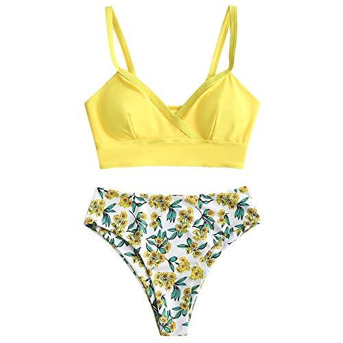ZAFUL Women's Tankini Bikini Swimsuit Flower Print Two Piece Knot Ruched Bikini Set Swimwear