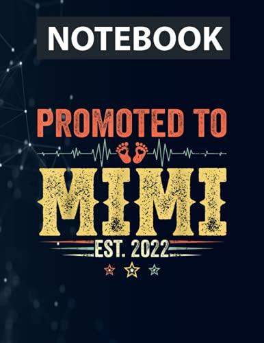 Promoted To Mimi Est 2022 Outfit New Mimi Mother's Day Ruled Notebook - Back Pocket, Strong Twin-Wire Binding with Premium Paper, Perfect for School, Home & Office
