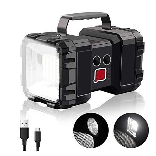 Changskj Suchscheinwerfer LED-Scheinwerfer-Taschenlampen-Arbeits-Lampe aufladbare Taschenlampe Handsuchscheinwerfer Double Head USB Notlicht