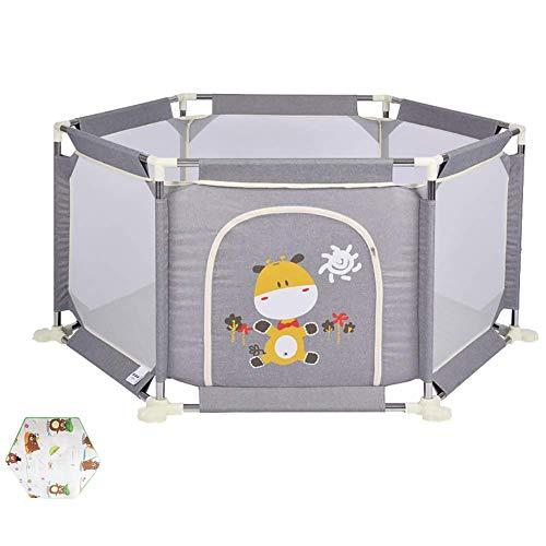 GONGFF Baby Playpen Play Fence 6-Panel Safety Play Clôture de Jeu d'intérieur avec Tapis Rampant, Garde-Corps de Jeu Portable pour Tout-Petits (Couleur: Gris, Taille: Haute 67cm)