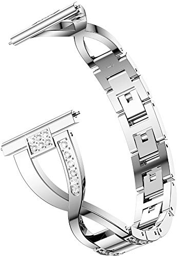 Chainfo kompatibel mit Amazfit GTR 42mm / GTS/Bip/Bip Lite Armband, Edelstahl Uhrenarmband Quick Release Ersatzband (20mm, Silber)
