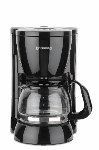 grossag Filter-Kaffeeautomat mit Glaskanne KA 12.17\n| 0,6 Liter für 4 Tassen Kaffee | 600 Watt | Schwarz -\nEdelstahl