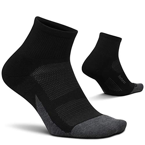 Feetures - Elite Max Cushion - Quarter - Athletic Running Socks for Men and Women - Black - Size Medium