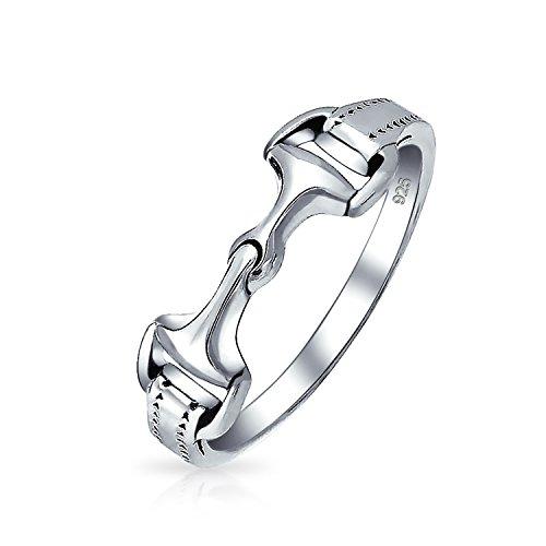925 Sterling Silber Cowgirl Reiten Doppel Pferd Snaffle Bit Band Ring Für Frauen Für Teen