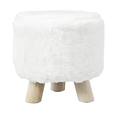 [en.casa] Taburete Redondo Puff Elegante Asiento tapizado imitación Piel Blanco Patas de Madera Estilo escandinavo