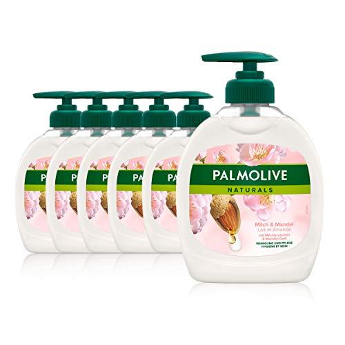 Palmolive Flüssigseife Naturals Milch und Mandel 6 x 300 ml - Seife basiert auf einer sanften, seifenfreien Formel, Handseife für alle Hauttypen