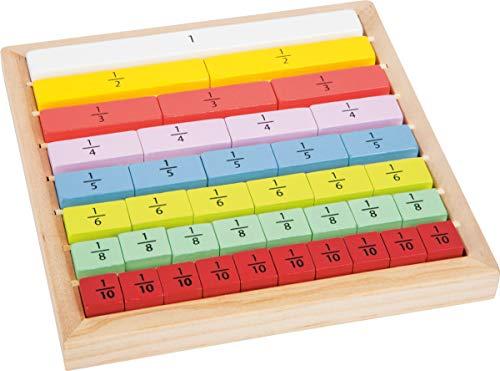 small foot 11166 Educate Spiel Bruchrechnung zum Rechnen lernen, Brüche Üben für Schulkinder und Angehende Rechen-Profis, ab 4 Jahren Spielzeug, Mehrfarbig