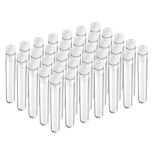 Joyclub 12x100mm Clear Plastic Test Tubes with Caps for...