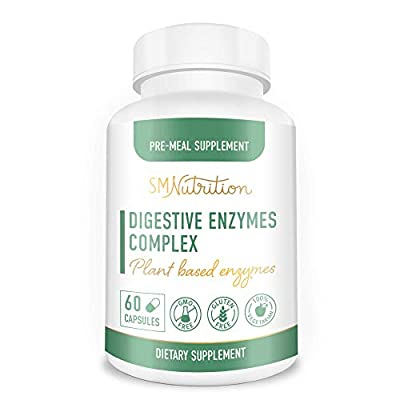 Digestive Enzymes Supplement for Digestion, Flatulence, Lactose Absorption, Constipation, Gas Relief, and Bloating* - 60 Vegetarian Capsules