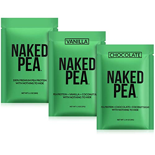Naked Nutrition Vegan Sample Pack - Naked Pea, Chocolate Naked Pea, and Vanilla Naked Pea
