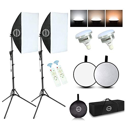 Maxztill Softbox Lighting Kit, Photography Studio Light with 19'X27' Reflector, 3 Colors Temperature 85W E27 Bulb with Remote, and Light Reflector 2-in-1 for Photo Studio and Take Video