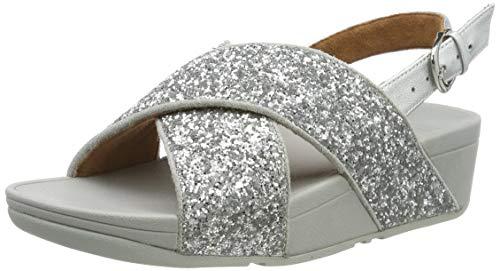 Fitflop Lulu Glitter Back-Strap, Sandali con Cinturino alla Caviglia Donna, Argento (Silver 011), 38 EU