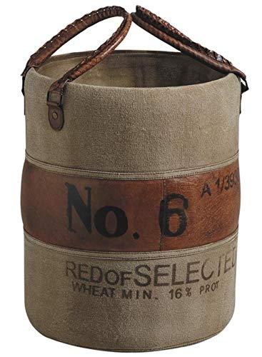 PEGANE Panier de Rangement en Cuir et Coton, laqué Brun et Brun foncé, Ø 32 x H 40 cm