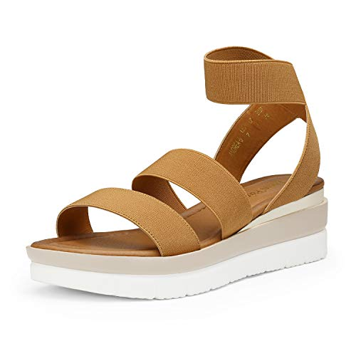 DREAM PAIRS Women's Camel Open Toe Ankle Strap Platform Wedge Sandals Elastic Strap Summer Sandals Size 8.5 M US Andrea-5