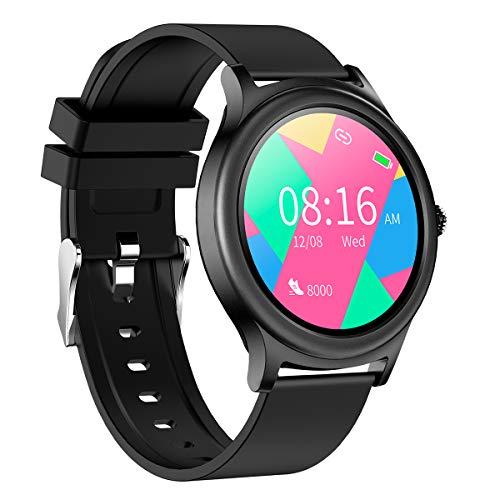 BINDEN Smartwatch V31 Pulsera Inteligente Muestra Notificaciones con Carátulas Intercambiables Reloj Inteligente Monitor de Salud y Deporte con Batería hasta 5 Días, Silicón Negro