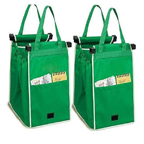 OCGDZ 2pcs Bolsas de Almacenamiento Reutilizable Carrito Grande Clip a Carro Supermercado Supermercado Bolsa de Compras Portátil Azul Plegable Tote Bolsos (Color : 2 Packs Green Bags)