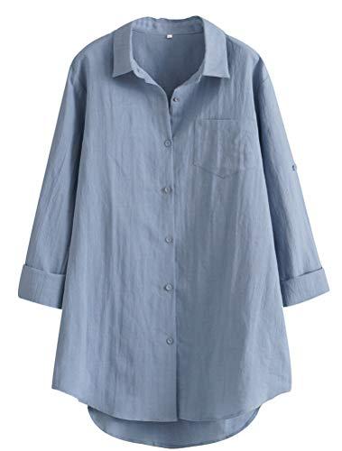 MatchLife Damen Leinen Blusen Elegant Langarm Freizeit Oberteil Lose Langarmshirt Tunika Hemd mit Taschen (2XL(Fit EU44-48), Style1-Blau)