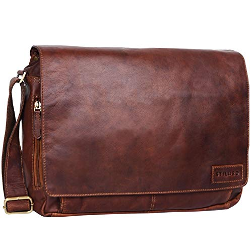 STILORD 'Rick' Schultertasche Leder für 15,6 Zoll Laptop Umhängetasche Aktentasche Bürotasche Unitasche Büffel-Leder, Farbe:Cognac - Dunkelbraun