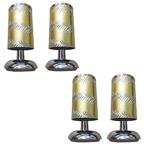 YXB Metalen meubelpoten X4, vergulde aluminium poten, meubelbank salontafel met lage poten, poten, 8-12 cm (4 stuks), geschikt voor meubels zoals bedden, kasten, tafels, enz.