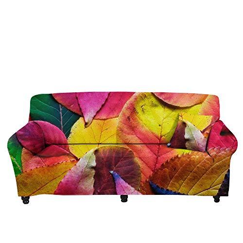 HXTSWGS Fundas de sofá,Asiento de Amor,Funda de sofá con Estampado de Hojas caídas en 3D, Toalla de sofá de trébol, Funda de sofá de Sala de Estar con Todo Incluido-Color1_190-230cm