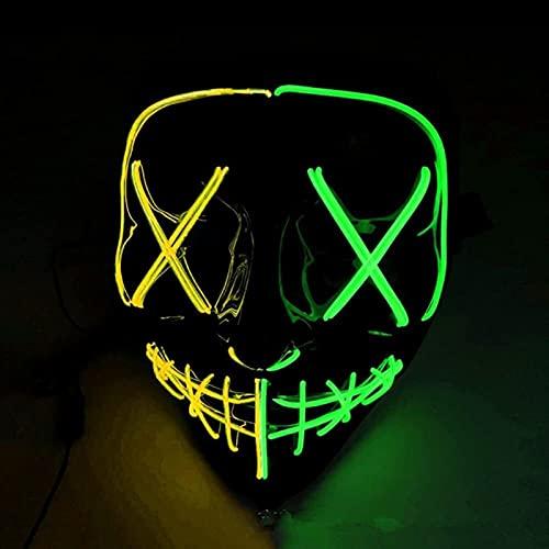 Máscara de Halloween, DIRIGIÓ Máscara de iluminación DIRIGIÓ Ilumina la máscara de halloween brilla DIRIGIÓ Mascarilla para Festival de Halloween Cosplay Disfraz de Halloween Decoraciones de fiesta