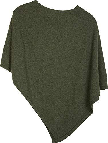 styleBREAKER Damen Feinstrick Poncho in Unifarben, leicht asymmetrischer Schnitt, Ärmellos, Rundhals 08010042, Farbe:Oliv
