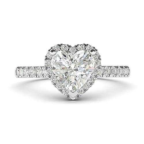 14k White Gold Simulated Heart-shaped Diamond Halo Engagement Ring with Side Stones Promise Bridal Ring (3.5)