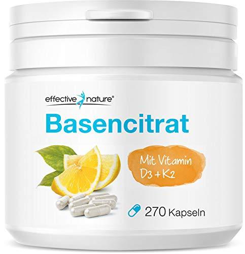 Effective Nature – Basencitrat | Mit Vitamin D3 & K2 | Natürlicher Verbund mit Zitronenpulver | Zur Unterstützung eines normalen Säure-Basen-Haushalts | Vegan | 270 Kapseln