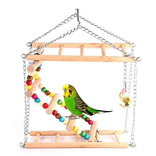 LRXGOODLUKE 2 STKS Papegaai Speelgoed, Swing Ladder Klimmen Ladder Dubbele Trap Grijs Papegaai Vogel Speelgoed Vogel Bijten benodigdheden Huisdier Speelgoed