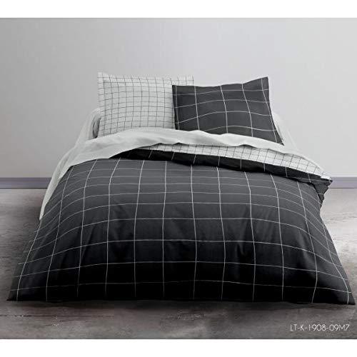 Bettbezug Stockholm, Motiv: Karos, Cocooning, Schwarz/Weiß, Erwachsene, 220 x 240 cm, 2 Personen, 100 % Baumwolle, Flanell, sehr weich