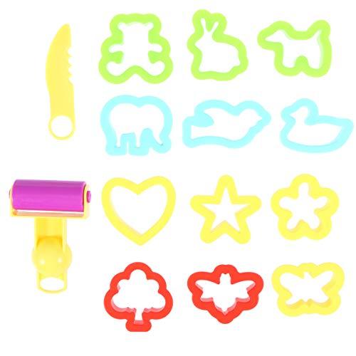 NUOBESTY Knetwerkzeug Kinder Ausstecher Knete Spielzeug mit Teigroller Ausstechformen für Playdoh Plastilin Kinderknete Werkzeug Ausstechformen und Anderes Zubehör(Zufällige Farbe)