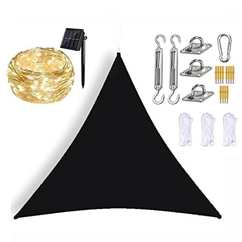 Sombrillas para Patio Triángulo Multicolor Toldo Toldo para Exteriores con Luces Solares LED 、 Kit de Instalación y Cuerda, 95% de Bloqueo UV, para Jardín, Patio,Black-2x2x2m
