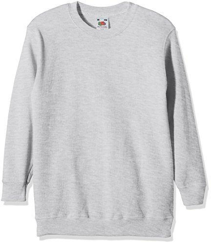 Fruit of the Loom Jungen Regular Fit Sweatshirt SS027B, Grau - Grey (Heather Grey), 10/11 Anni (Taglia Produttore: 140)