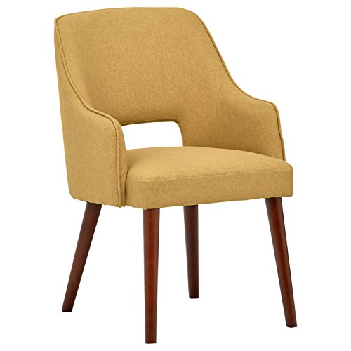 "Rivet Malida Mid-Century Modern Open Back Kitchen Dining Room Accent Chair, 33""H, Canary"