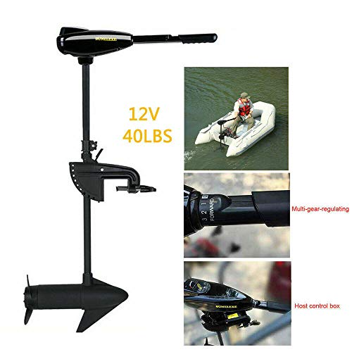 Electric Trolling Motor, 408W 40LBS Thrust Transom Mount Outboard Trolling Motor Engine Outboard Boat Motor for Inflatable Kayaks Dinghy Canoe