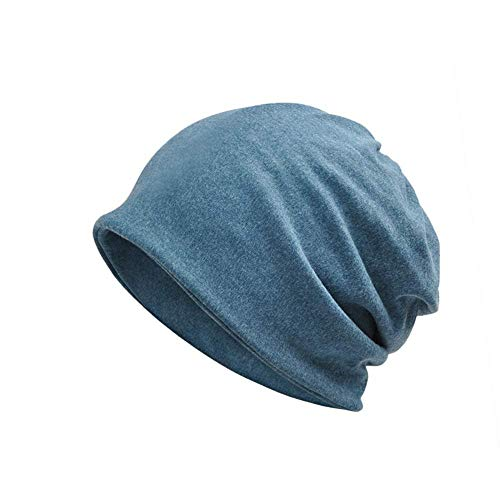 XIAOJIE De gebreide muts van de dames Unisex Slouch Beanie Soft Cotton Cap Chimio 2-in-1 Neck Scarf for Cycling Hiking Sleeping Keeps Warm Winter-Thine, Royal Blue