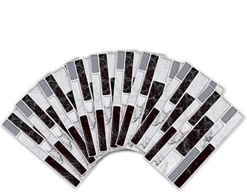VIVILINEN 27 Piezas Pegatinas de Baldosas de Cerámica Antideslizantes de Estilo Europeo, Adhesivo de Azulejo Aspecto Mármol para Cocina Baño, Collage de Azulejos Resistentes al Agua,20 * 10cm (Gris)