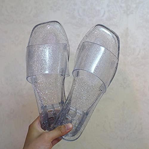 ypyrhh Sandalias con Punta Abierta Mujer,Zapatos de Cristal Cuadrados de Moda,Frutas Interiores y Sandalias al Aire Libre.-Blanco 1_36,Sandalias de Dedo Cómodas para Hombres